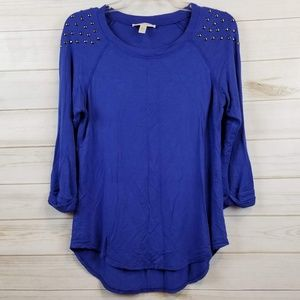 Maria Gabrielle blue french terry studded top